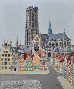 """L. Schuermans, """"Zicht op Mechelen"""". Olieverf op doek."""