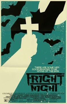 Here's a poster for Fright Night, one of the few vampire movies I can enjoy. The Horror Fest is this week (tomorrow, actually) and Stephen Geoffreys wil. Old Film Posters, Minimal Movie Posters, Horror Movie Posters, Cinema Posters, Vintage Posters, Ex Libris, Scary Movies, Good Movies, Classic Horror Movies