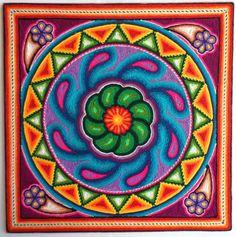 12 Mexican Huichol Peyote Cactus yarn painting by Aramara on Etsy