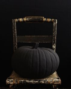 Pumpkins Painted with Flat Black Paint