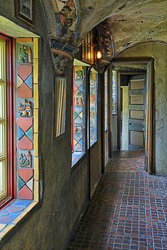 Handmade tiles from the Moravian Tile Works in the windows of the Map Room at Fonthill Castle - located in Doylestown, Pennsylvania.