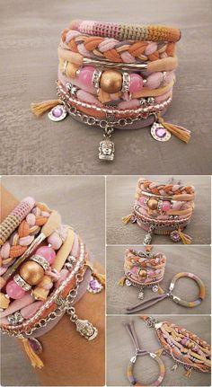 Peach Pink Hippie Bracelet Layering Bracelets Gypsy Jewelry Skull Charm - new season bijouterie Hippie Bracelets, Fabric Bracelets, Fabric Jewelry, Ankle Bracelets, Beaded Jewelry, Handmade Jewelry, Beaded Bracelets, Silver Bracelets, Silver Earrings