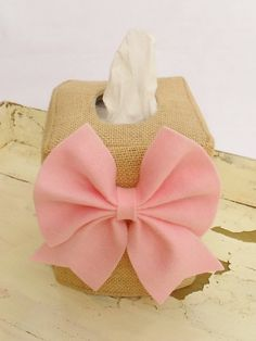 Create your own burlap bow tissue box cover by headtotoe2009, $16.50
