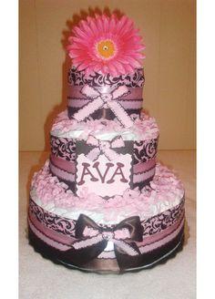Damask Diaper Cake