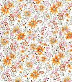DS Quilt Collection Fabric-Fancy Free Floral Orange & premium quilting fabric at Joann.com