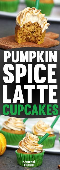 """Pumpkin Spice Latte Cupcakes are a fun treat for fall, packed with tons of pumpkin and pumpkin spice to warm you from the inside out! Top these off with caramel sauce and you've got an edible confection that you can decorate with latte """"accessories"""" like a straw and green cupcake liner. These make a sweet novelty cupcake for a bake sale or party. You will love these a latte!"""
