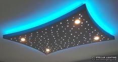 Plaster Ceiling Design, Gypsum Ceiling Design, Interior Ceiling Design, House Ceiling Design, Ceiling Design Living Room, Bedroom False Ceiling Design, Star Lights On Ceiling, Drop Ceiling Lighting, Dark Ceiling