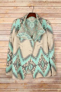 Mocha and Mint Cardigan Sweater