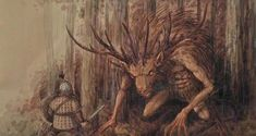 """Bies - slavic forrest deamon from ancient times. If You like slavic demons I recommend You my book """"Bestiariusz słowiański"""" ('Slavic Bestiary'. Magical Creatures, Fantasy Creatures, Eslava, Central And Eastern Europe, Mythological Creatures, Gods And Goddesses, Deities, Architecture Art, Painting"""