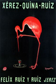 Xerez Quina Ruiz Red Flamingo Bird Drink Alcohol Cappiello Vintage Poster