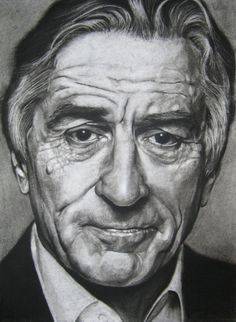 """Robert De niro one of my all time favourite actors and one of the juggernauts in my opinion. 15"""" x 11"""" charcoal on stonehenge. enjoy."""