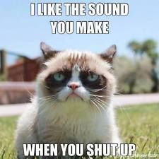 """Grumpy Cat Is a Star. Grumpy Cat Stars in """"Hard To Be a Cat at Christmas"""" Music Video. Photos and video of Grumpy Cat. Grumpy Cat Quotes, Funny Grumpy Cat Memes, Funny Jokes, Cat Jokes, Funny Cat Quotes, Angry Cat Memes, Cats Humor, Funniest Memes, Quotes About Cats"""