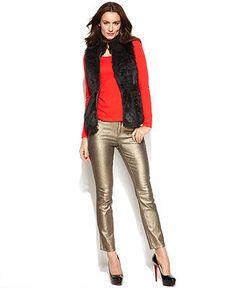 Ellen Tracy Faux-Fur Vest, Long-Sleeve Top & Metallic Skinny Jeans - Women - Macy's Ellen Tracy, Faux Fur Vests, Jeans Women, Precious Metals, Style Guides, Long Sleeve Tops, Metallic, Skinny Jeans, Shopping
