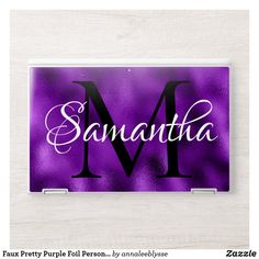 Faux Pretty Purple Foil Personalized Monogram HP Laptop Skin Monogram Gifts, Monogram Letters, Hp Laptop Skin, Unique Gifts For Her, Purple Ombre, Christmas Card Holders, Keep It Cleaner, Holiday Cards, Vibrant Colors