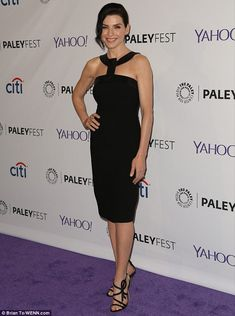 Stunning: Julianna Margulies displayed her sculpted physique in a LBD as she arrived at Th...
