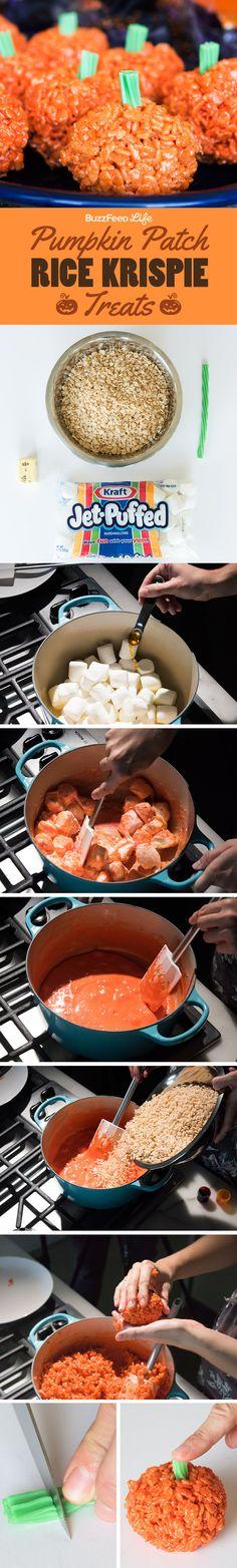 These Pumpkin-Shaped Rice Krispie Treats Are The Cutest Halloween Treat