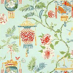 Thibaut Tea House Lanterns Wallpaper Alexander Interiors Ltd