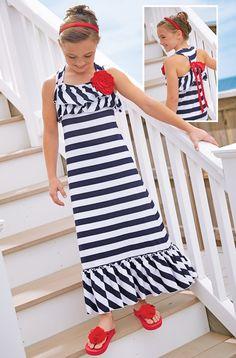 From CWDkids: Stripe Ruffle Maxi Dress