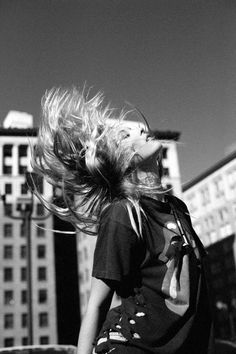 I whip my hair back and forth.