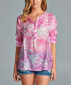 Love this Pink & White Abstract Button-Front Top by Antilia Femme on #zulily! #zulilyfinds