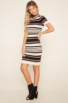 Forever 21 Contemporary - A ribbed knit midi dress featuring a bodycon fit, an allover striped design, a round neckline, and short sleeves.