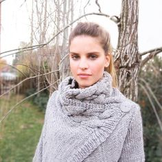 hand knit cardigan RIONA XS coat warm grey cowl neck braid cables wool