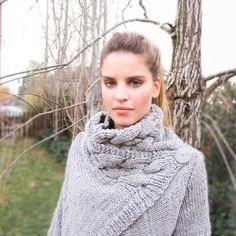 hand knit cardigan RIONA XS coat warm grey cowl neck by ovejanegra, $150.00