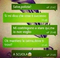 SMS DIVERTENTI SU WHATSAPP - SMS- DI TUTTI I TIPI Funny Texts, Funny Jokes, Funny Chat, Italian Memes, Hate School, Lol, Have A Laugh, Funny Moments, I Laughed