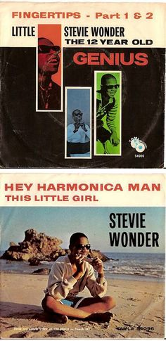 Little Stevie Wonder 45 rpm Record Sleeves — Fingertips - Part I & II (1963) & Hey Harmonica Man (1964)