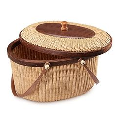 Nantucket basket Picnic Basket woven basket basket storage storage baskets storage basket shelves organizer basket woven storage basket cane basket for Storage Handmade Style Sewing kit(Walnut) Cane Baskets, Old Baskets, Vintage Baskets, Rattan, Wicker, Nantucket Baskets, Clothes Basket, Secret Rooms, Basket Decoration