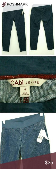 New Cabi soft cord legging pants 4 Nwt cabi blue pants. Light weight cord material.  Elastic waist.  Size says 4 Actual waist measures 28 inches. Inseam is 29 inches.  Made of cotton and spandex.  Smoke free home CAbi Pants