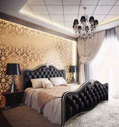 Black gold bedroom design with gold color wallpaper classic style with carpet Luxury Interior, Home Interior Design, Black Gold Bedroom, Deco Baroque, Modern Baroque, Royal Bedroom, Master Bedroom, Dining Room Wallpaper, Bedroom Wallpaper