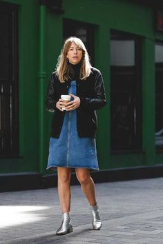 Harriet Stewart, Market and Retail Editor  Filippa K bomber jacket, Club Monaco poloneck, MiH dress, Russell & Bromley boots