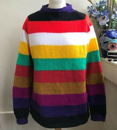 Pop Style Hand Knitted Stripey jumper by Bexknitwear Double Knitting, Hand Knitting, Cable Sweater, Men Sweater, Jumper Designs, Vintage Jumper, Yorkshire Uk, Color Blending, Pop Fashion