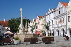Renaissance-Baroque houses with Marian column of the main square in Třeboň (South Bohemia), Czechia