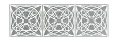 "Luxfer Flower Stencil Add a touch of Wright to your walls. This design is one of a series Wright created for the American Luxfer Prism Company and is based on a flower composed of circles and squares. Laser-cut Mylar. Washable and reusable. Instructions included. 22"" x 8"". The image is of the finished stencil painted on a wall. $19.99"