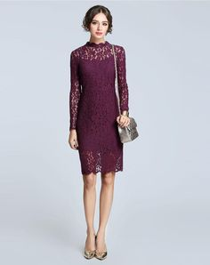 1b506db3fd Check the details and price of this Dark Purple Hollow Lace Bodycon Dress  (Purple