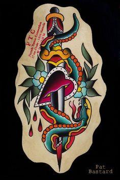 Snake Tattoo Flash by Pat Bastard [FrenchTattooCo on Etsy] Tattoo Flash Art, Snake Tattoo, New Art, Old School, Art Ideas, Tattoo Ideas, Ink, Tattoos, Etsy
