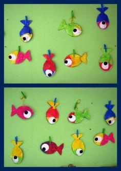 Nous avons également confectionné de petits poissons en volume. Pour les réaliser, rien de plus simple : 1) Imprimer deux modèles de poisson. 2) Faire pein