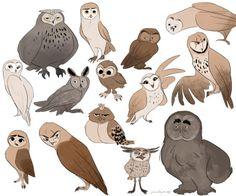 ArtStation – Some owls characters, Clara Danjoux - Eule Cartoon Owl Drawing, Owl Cartoon, Cute Owl Drawing, Bird Drawings, Animal Drawings, Ballon Animals, Creature Concept Art, Animal Sketches, Owl Art