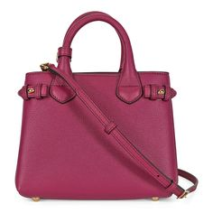 Burberry The Baby Banner Leather and House Check Tote - Brilliant Fuchsia - Burberry - Handbags & Accessories - Handbags - Jomashop