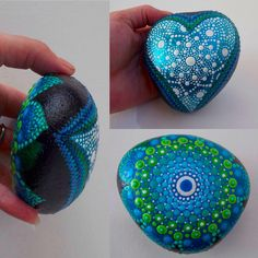 Double sided painted stone, the Heart Glows in the Dark