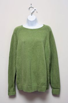 Lands End Light Green 100% Cotton Crewneck Knit Sweater Size XL 18-20 #LandsEnd #Crewneck