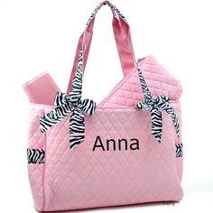 Personalized Diaper Bag in Pink Zebra 2PIECE Girl by PoshyKids, $32.00