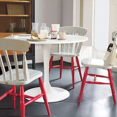 Standard wooden chairs can be made uber-elegant with this dipped leg look. So many possibilities for colour. You could also change the look with cushions and change them with the season or when the mood strikes