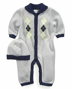 Little Me Baby Set, Baby Boys 2-Piece Argyle Coverall and Hat - Kids Baby Boy (0-24 months) - Macy's