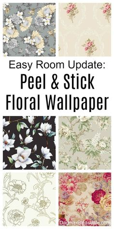 Stunning floral wallpaper, self-adhesive so it's super easy to add to the wall. Perfect for accent walls! DagmarBleasdale.com #wallpaper #flowers #floral #wallart #walldecor #romantic #vintage #vintagestyle #ideas #shabbychic #DIY #homedecor #homedecorideas
