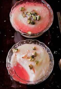 Water Pudding: I love Rose Water. Love it bunches. I think I could make this with almond milk and make it vegan.Rose Water Pudding: I love Rose Water. Love it bunches. I think I could make this with almond milk and make it vegan. Just Desserts, Dessert Recipes, Middle Eastern Desserts, Israeli Food, Turkish Recipes, Romanian Recipes, Scottish Recipes, Pudding Recipes, Rose Water