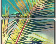 Palm Frond Art, Triptych, Canvas Art, Palm Frond, Palm Tree, Nature, Palm Branch, Colorful, Harmony, Peace, Nature, Botanical, Giclee, Bokeh