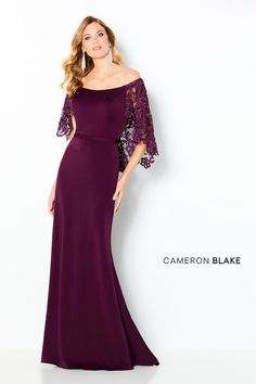 Off the shoulder crepe and guipure lace fit and flare gown with a scooped neckline, Natural waist with a belt detail, high back and a sweep train. Mother Of Groom Dresses, Mothers Dresses, Bride Dresses, Mob Dresses, Sexy Dresses, Formal Dresses, 2015 Wedding Dresses, Wedding Dress Shopping, Gown Wedding